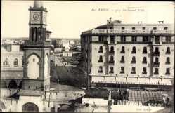 Postcard Marokko, Le Grand Sokko, Uhrturm, Cafe Excelsior, Fassade