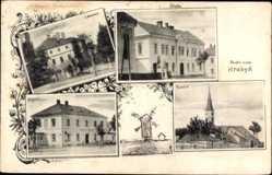 Postcard Hrabyn Reg. Mährisch Schlesien, Skola, Kostel, Kirche, Schule, Zamek