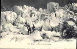 Postcard Seracs Kt. Graubünden Schweiz, Morteratschgletscher, Bergsteiger