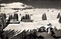 Postcard Jaunpass Kt. Bern Schweiz, Bäderhorn, Hotel des Alpes, Winter, Schnee