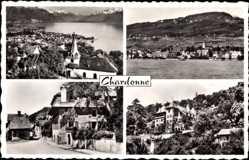 Postcard Chardonne Kt. Waadt Schweiz, Blick auf den Ort, See, Gebirge, Häuser