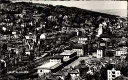 Postcard Sankt Gallen Stadt Schweiz, Totalansicht der Ortschaft, Bahnhof