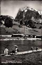 Postcard Grindelwald Kt. Bern Schweiz, Schwimmbad mit Wetterhorn, Gebirge