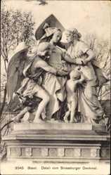 Postcard Bâle Basel Stadt Schweiz, Detail vom Strassburger Denkmal, Statuengruppe