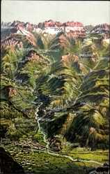 Landkarten Ak Bolzano Bozen Trentino Südtirol, Virgl, Kardaun, Rosengarten