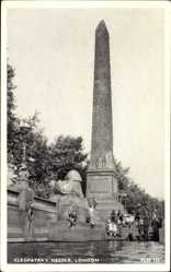 Postcard London City, View of Cleopatra's Needle, children, Obelisk