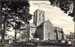 Postcard Shoreham South East England, Chruch from South West, graveyard