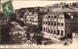 Postcard Algier Alger Algerien, Le Theatre et la Place Bresson, Straßenbahn