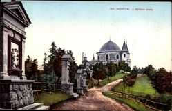 Postcard Region Zlin Tschechien, Sv. Hostyn, Krizova cesta, Wallfahrtskirche