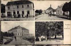 Postcard Kacice Mittelböhmen, Kaplicka, Obchod, Skola, Schule, Straße