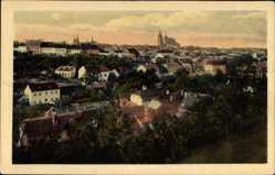 Postcard Brno Brünn Südmähren, Totalansicht der Ortschaft, Kirche, Häuser