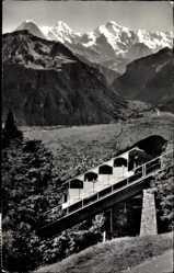 Postcard Interlaken Kt. Bern Schweiz, Drahtseilbahn, Harderkulm, Eiger, Mönch