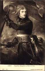 Künstler Ak Gros, Napoleon Bonaparte au Pont de Lodi, Musee de Versailles