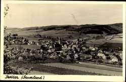 Postcard Fretter Finnentrop Sauerland, Totalansicht der Ortschaft, Felder