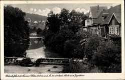 Postcard Tanne Oberharz am Brocken, Blick zum Jägerborn, Flusspartie, Wehr