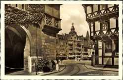 Postcard Halberstadt in Sachsen Anhalt, Partie am Fischmarkt, Fachwerkhaus
