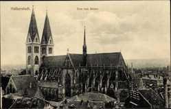 Postcard Halberstadt in Sachsen Anhalt, Blick auf den Ort und den Dom von Süden