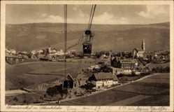 Postcard Oberwiesenthal im Erzgebirge Sachsen, Blick auf den Ort und Schwebebahn