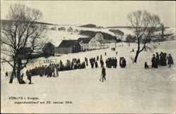 Ak Zöblitz Marienberg im Erzgebirge Sachsen, Jugendwettlauf 25. Januar 1914