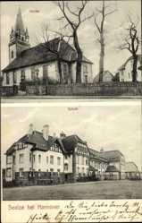 Postcard Seelze bei Hannover, Blick auf die Kirche und Schule, Straßenpartie
