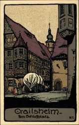Steindruck Ak Crailsheim im Kreis Schwäbisch Hall, Partie am Schlossplatz