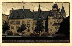 Steindruck Ak Alzey in Rheinhessen, Blick auf das Schloss und Schlosshof