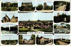 Postcard Freiberg im Kreis Mittelsachsen, Justizgebäude, Albertpark, Donatsturm