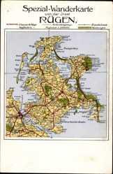 Landkarten Ak Rügen, Tromper Wiek, Juliusruh, Bodden, Bergen, Stralsund