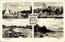 Wappen Ak Luftkurort Plau am See, Seglerheim, Kirche, Seelust, Kanal