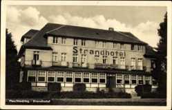 Postcard Plau am See Mecklenburg, Ansicht des Strandhotels, Fassade