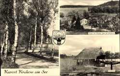 Wappen Ak Krakow am See, Partie am Gruber See mit Jörnberg, Fischerei