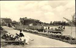 Postcard Krakow am See im Kreis Rostock, Bootsanlegestelle, Promenade, Weg