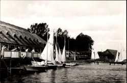 Postcard Güstrow im Kreis Rostock, Bootshäuser am Inselsee, Segelboote