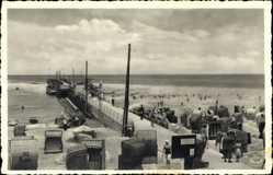 Ak Ostseebad Kühlungsborn im Kreis Rostock, Strand und Brücke, Meer