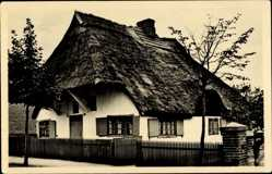 Postcard Ostseebad Dierhagen Mecklenburg, Blick auf altes Fischerhaus, Reetdach