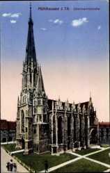 Postcard Mühlhausen im Thüringer Unstrut Hainich Kreis, Obermarktskirche, Zieher