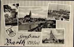 Wappen Ak Barth in Mecklenburg Vorpommern, Fangelturm, Seglersteg, Marktplatz