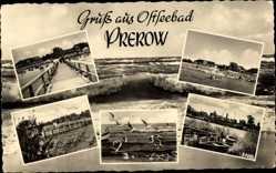 Postcard Prerow Darß Ostsee, Strand, Möwen, Seebrücke, Ruderboot