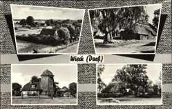 Postcard Wieck Darß, Ferienanlagen, Mühle, Hütten, Teilansicht