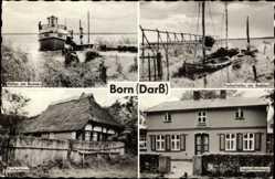 Postcard Born Darß, Hafen, Fischerhaus, Jugendherberge, Fischerhaffen am Bodden