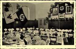 Postcard Wiek auf der Insel Rügen, Hotel Bismarck, Hakenkreuzfahnen, Walter Schröder