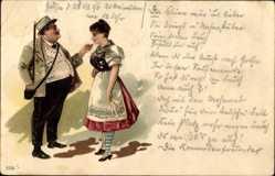 Litho Dicker Mann und Frau in Thüringer Tracht, Strohhut, Schürze