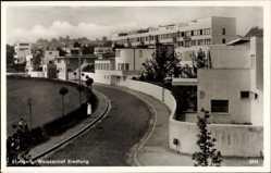 Postcard Stuttgart, Partie an der Weissenhof Siedlung, Bauhaus, Straße