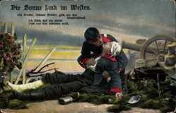 Postcard Die Sonne sank im Westen, Ach Bruder liebster Bruder, sterbender Soldat