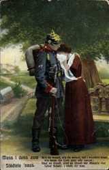 Postcard Muss i denn zum Städtele naus, weinende Frau, Soldat mit Tornister