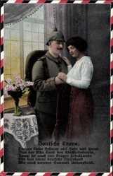 Postcard Deutsche Treue, Treuer Liebe Schwur mit Herz und Hand, Soldatenliebe