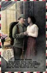 Postcard Deutsche Treue, Liebling deutsche Herzen zagen nicht, Soldatenliebe