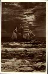 Ak Unter vollen Segeln, Segelschiff auf dem Meer, Wellengang