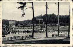 Ak Plauen im Vogtland, Schwimmbad im Stadion, Sprungturm