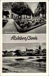 Postcard Alsleben an der Saale, Blick über das Wehr, Parkanlage